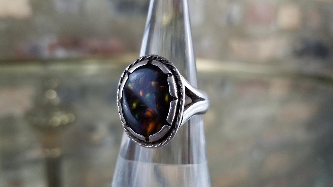 Signed Navajo Fire Agate and Sterling Ring - 2