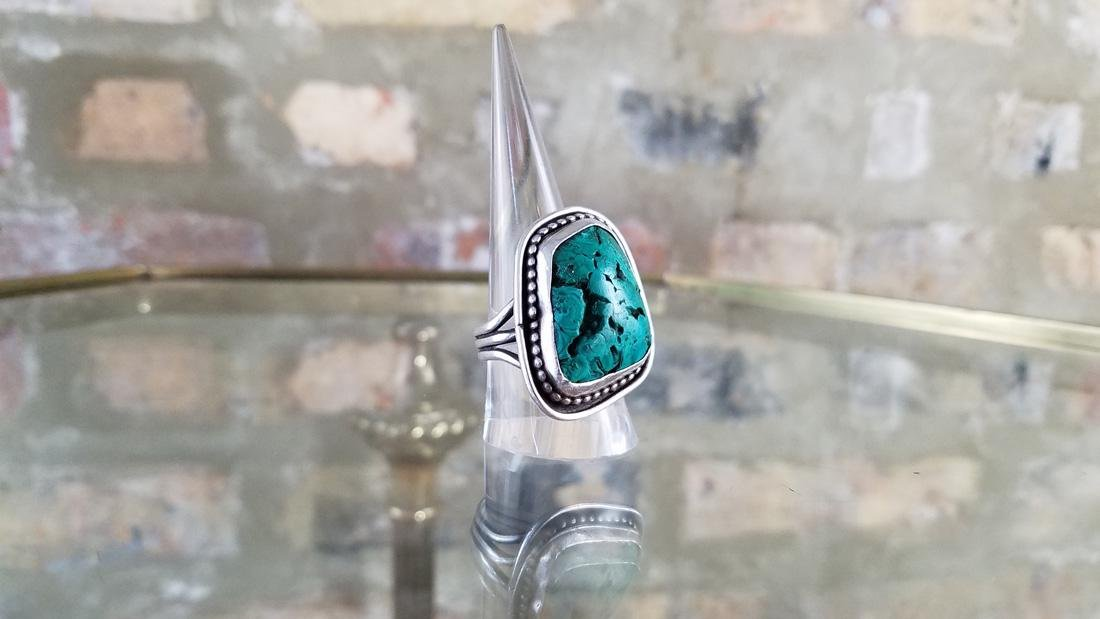 Navajo Sterling and Malachite Old Pawn Ring