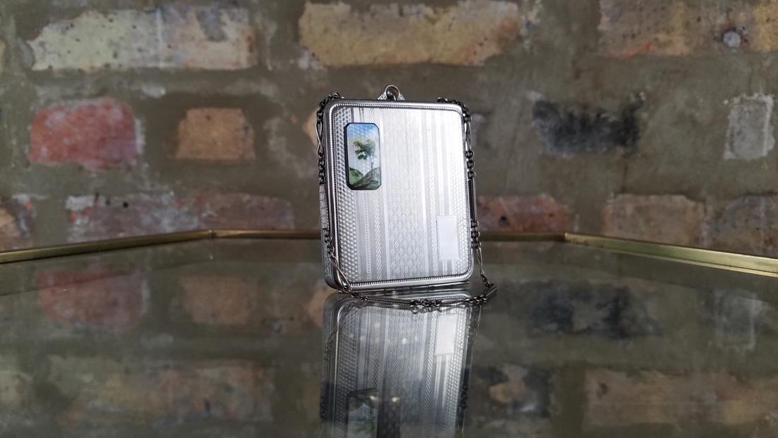 Vintage Silver and Enamel Compact