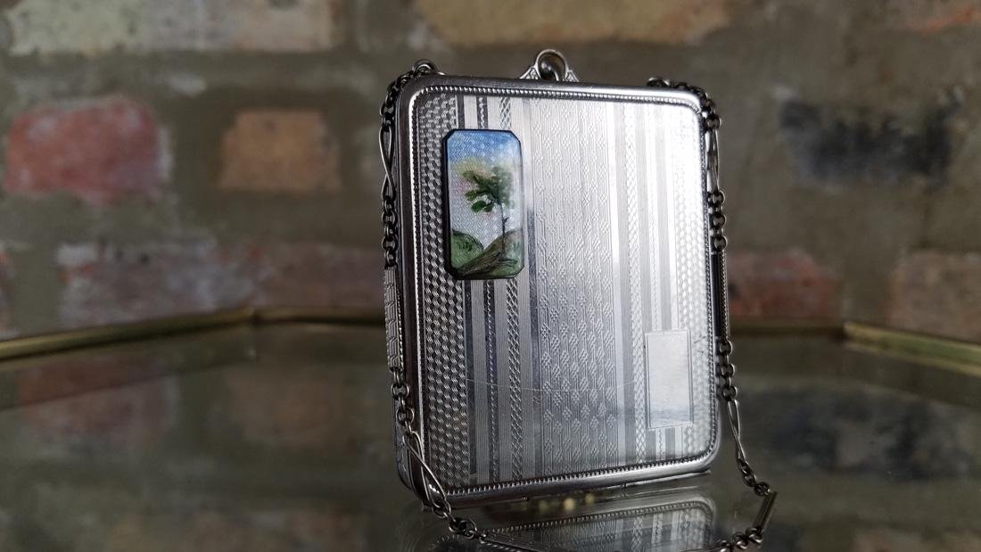 Vintage Silver and Enamel Compact - 2