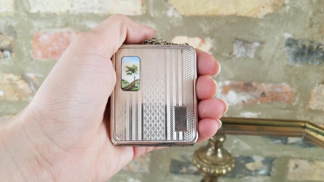 Vintage Silver and Enamel Compact - 5