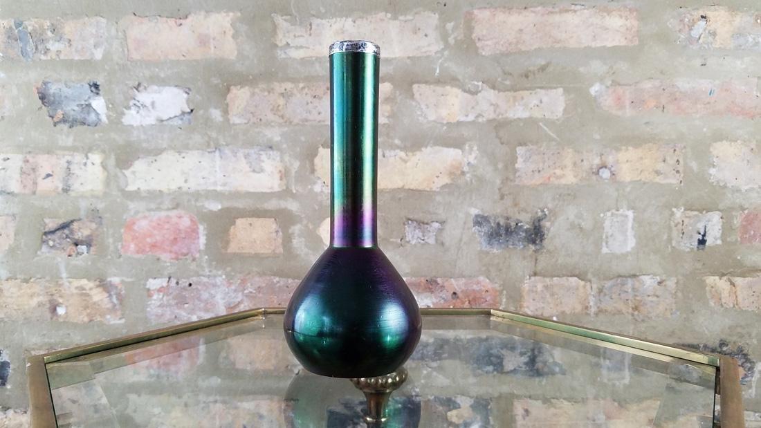Loetz Glass and Sterling Barber Bottle