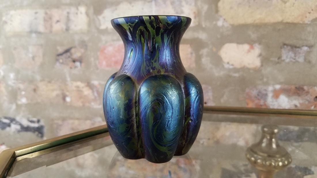 Rindskopf Uranium Glass Iridescent Vase