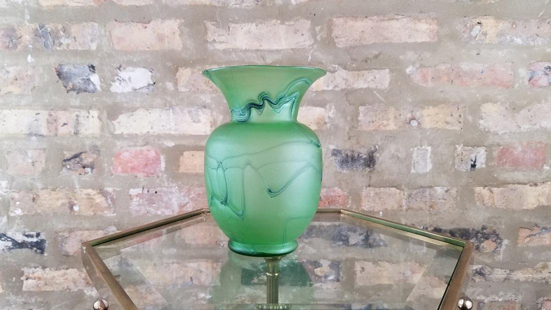 Incredible Loetz or Kralik Matte Green Threaded Vase