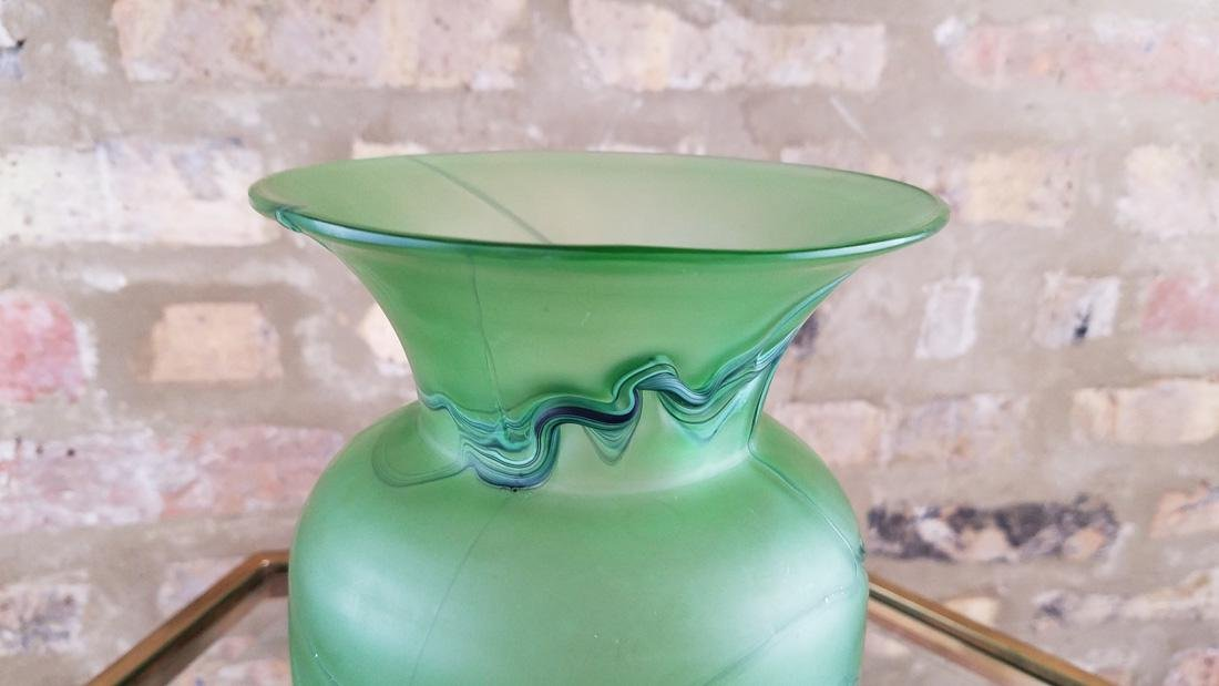 Incredible Loetz or Kralik Matte Green Threaded Vase - 4