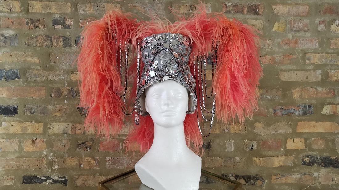 Vintage Ostrich Feather Showgirl Hat