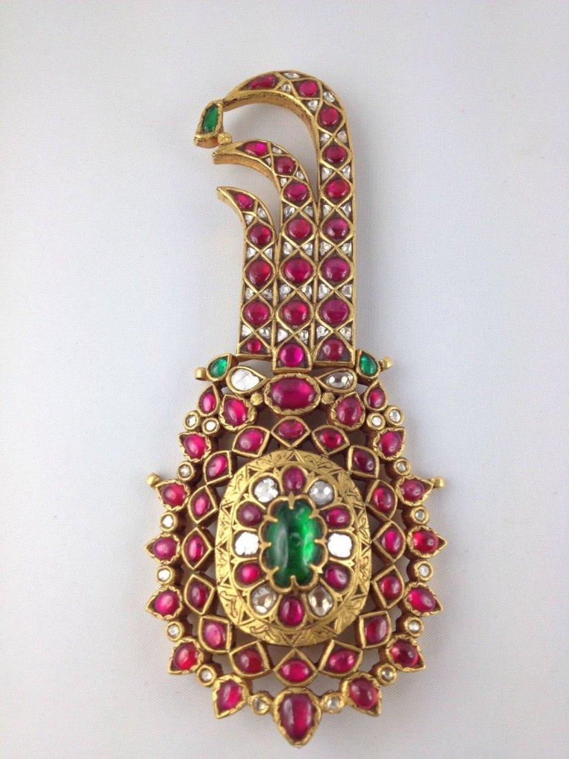 """Mughal Style 22 Kt Gold Folding """"KALGI"""" INDIAN"""