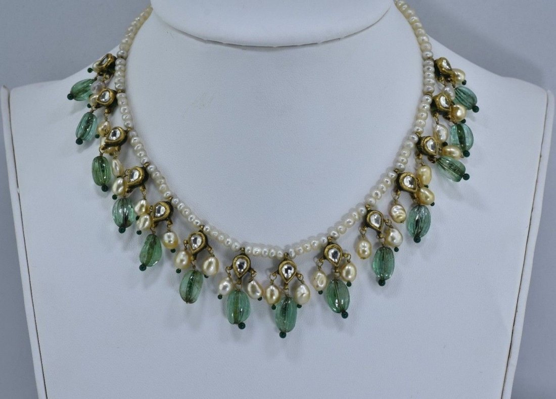 Mughal  22 kt  Gold  real pearl & carved emerald neckla