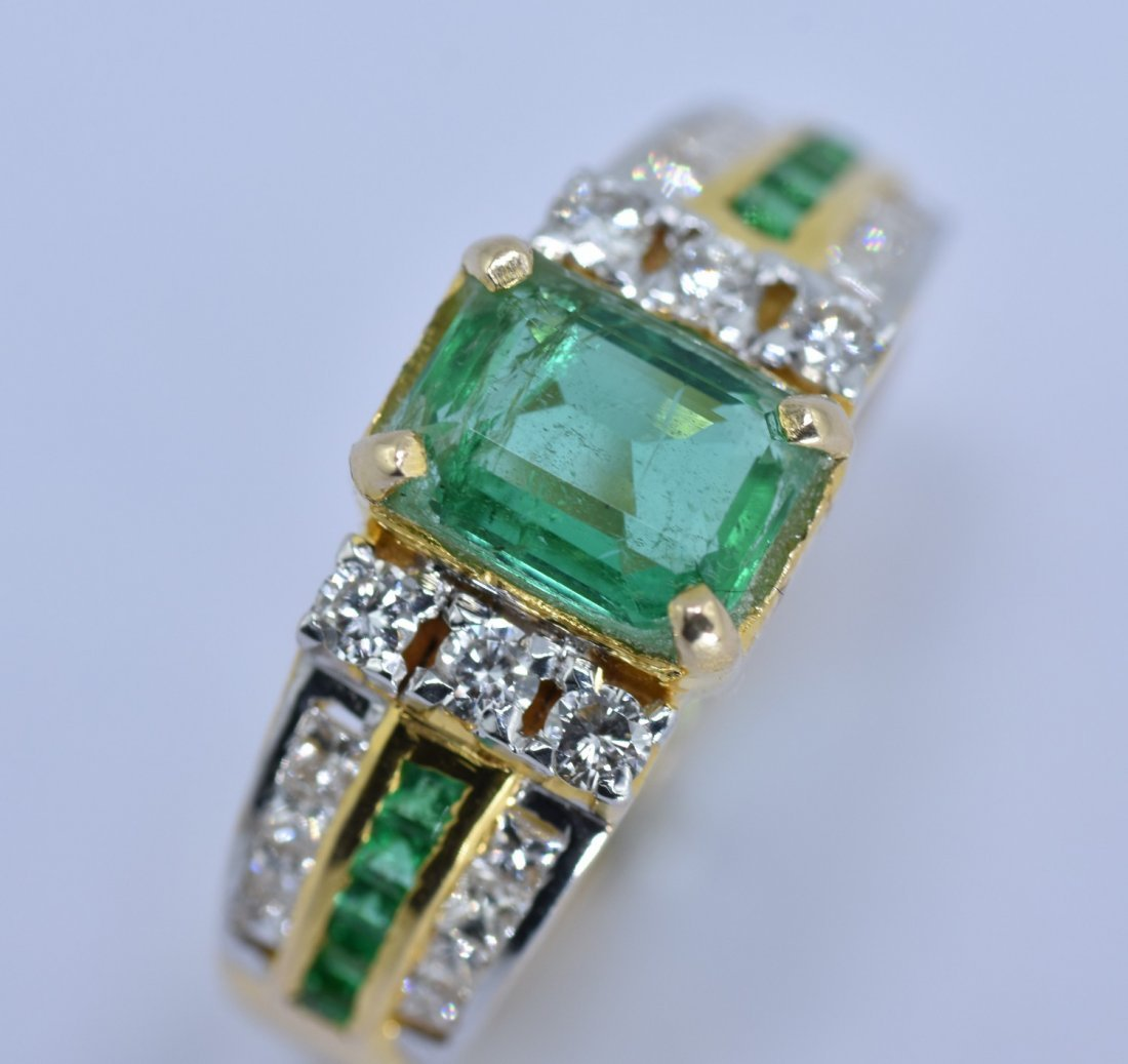 Emerald and Diamond  18 KT Yellow Gold Ring