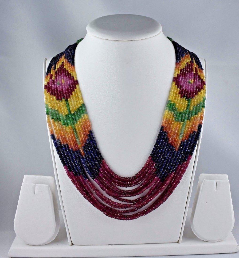 Multi precious gemstone beads necklace