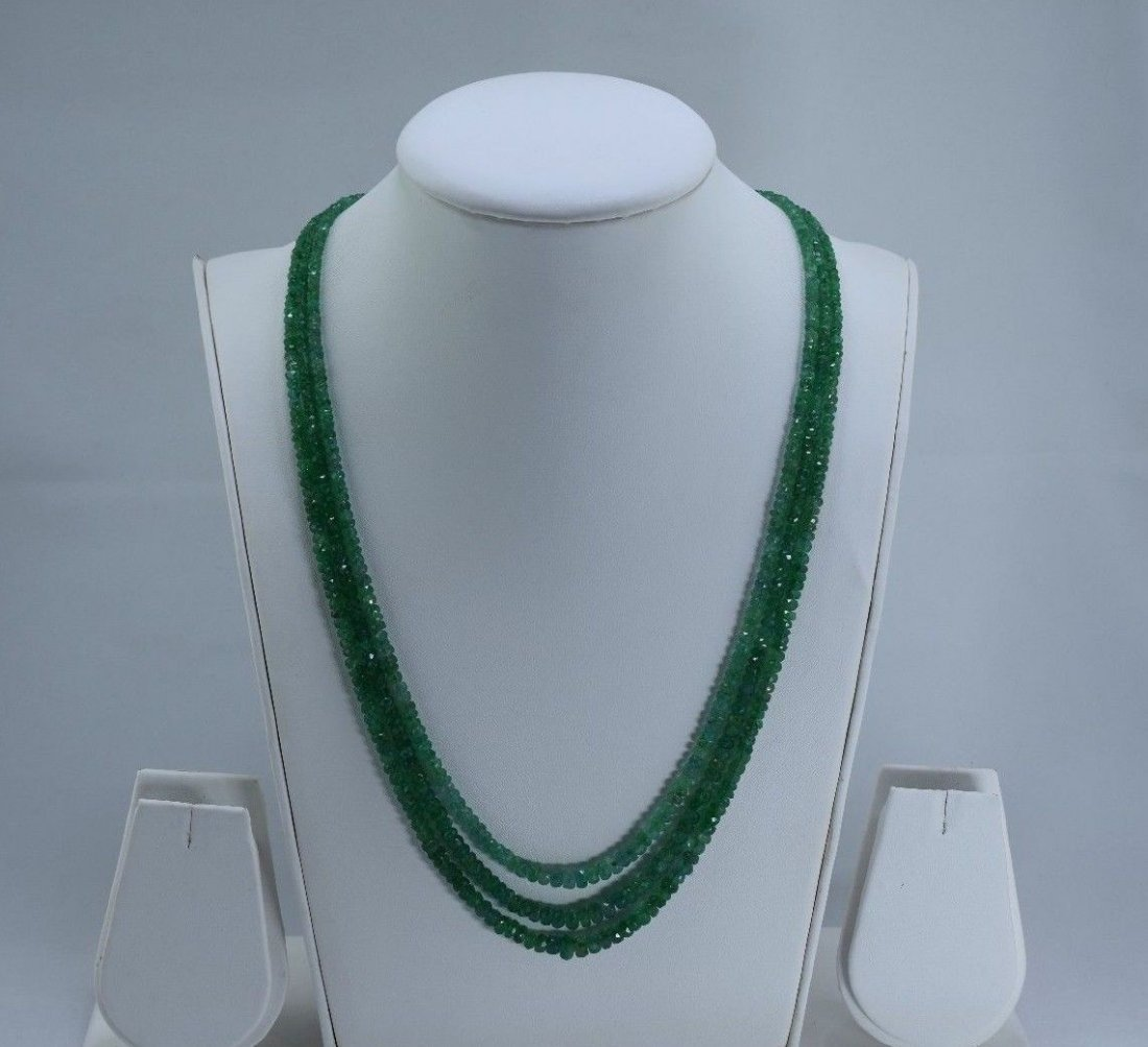 Natural emerald beads necklace - 2