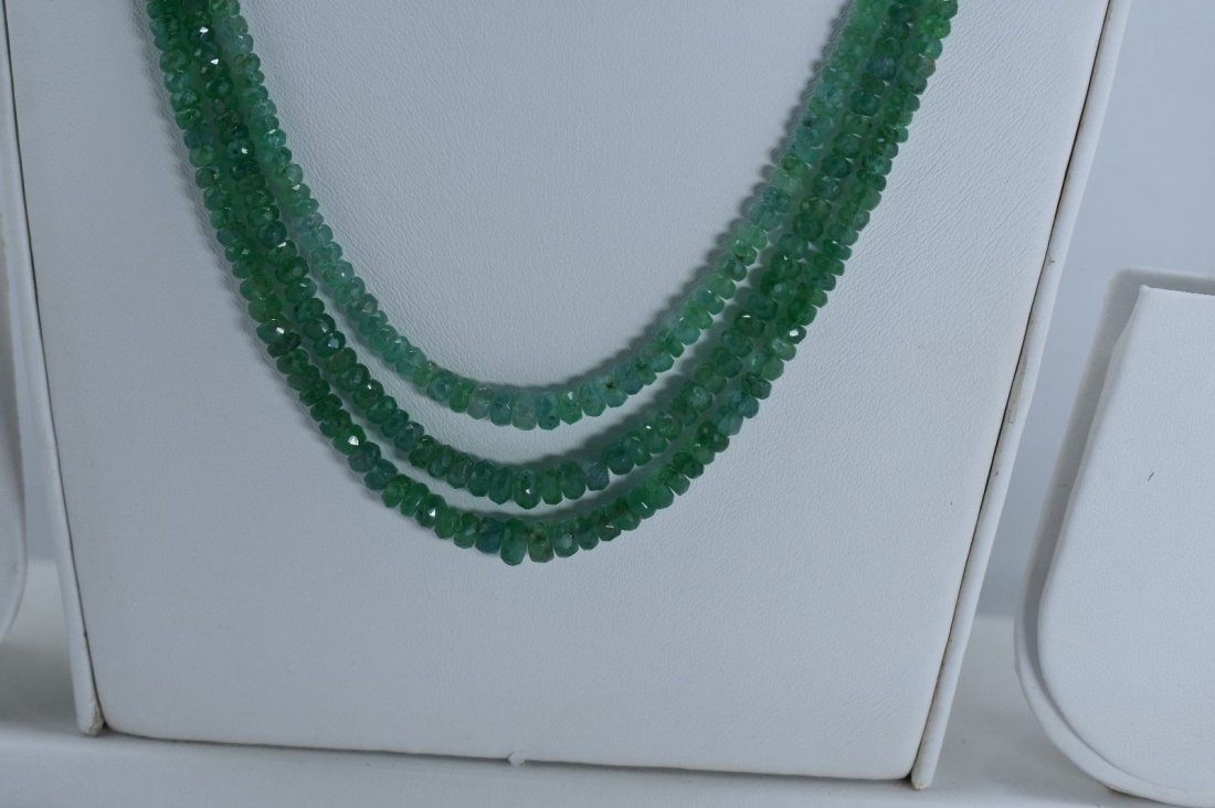 Natural emerald beads necklace - 3