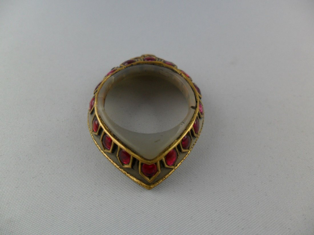 A fine Mughal style jade Archer's Thumb Ring - 5