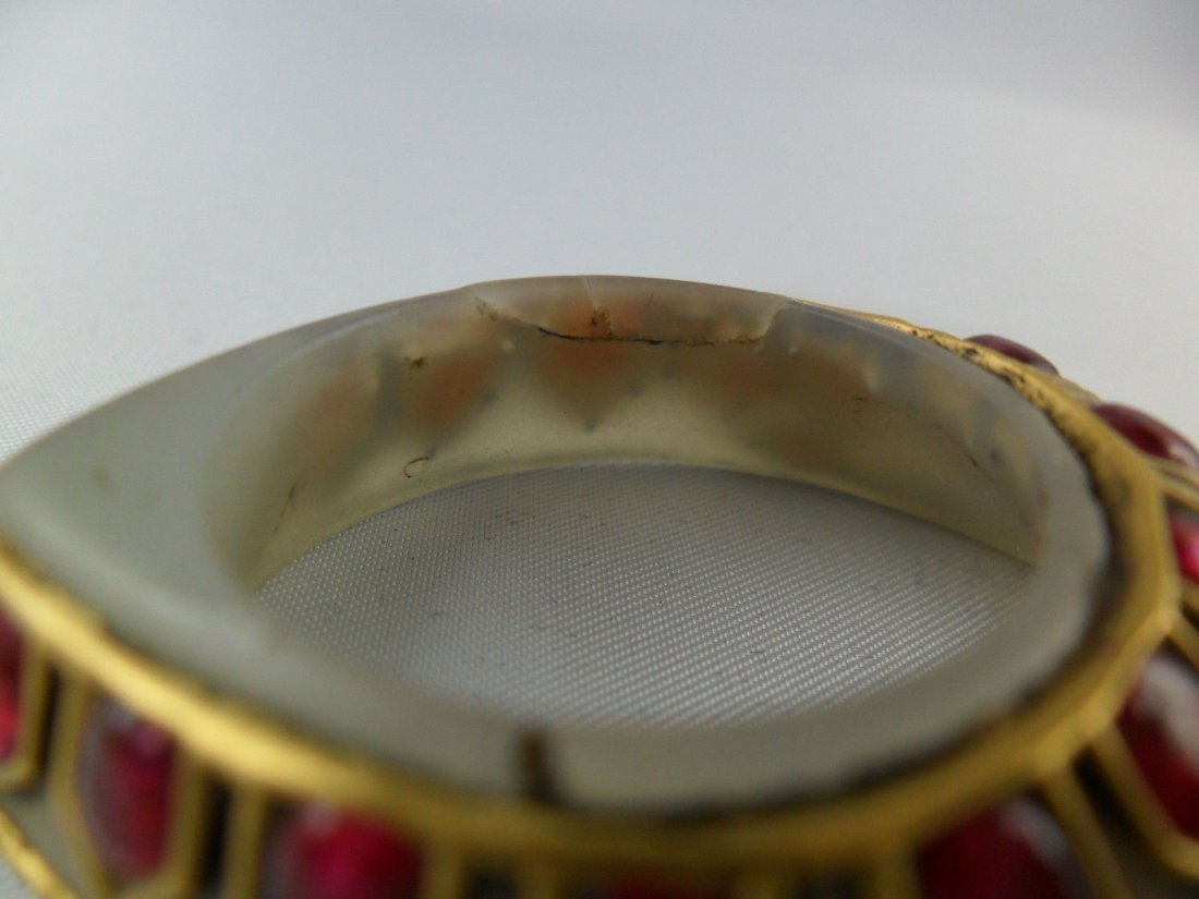 A fine Mughal style jade Archer's Thumb Ring - 8