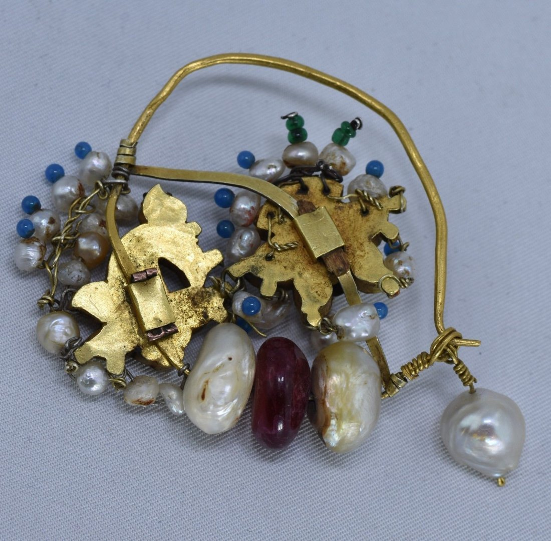 Mughal Indian 18 kt Gold, Pearl & Spinel Nose Ring - 2