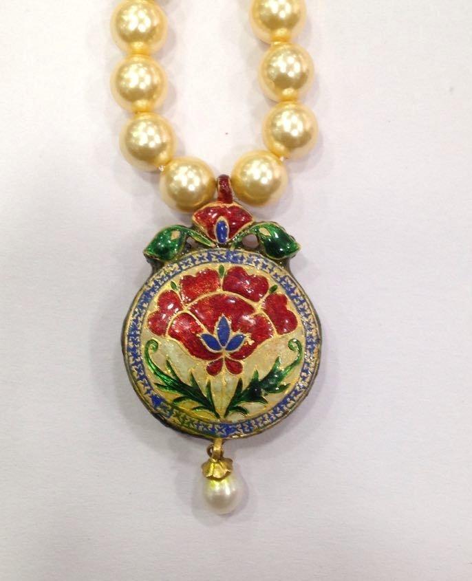 Mughal vintage India 22ct gold/ Precious stone Pendant - 4