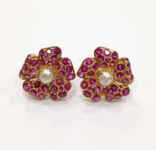 NATURAL BURMA RUBY AND PEARL 18 KT YELLOW GOLD EARRING - 2