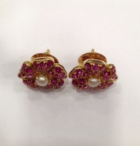NATURAL BURMA RUBY AND PEARL 18 KT YELLOW GOLD EARRING - 3