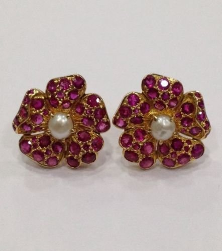 NATURAL BURMA RUBY AND PEARL 18 KT YELLOW GOLD EARRING - 4