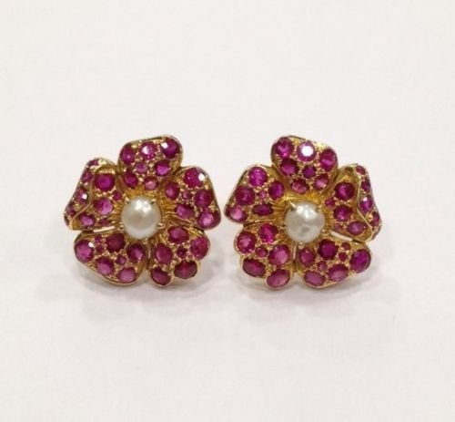 NATURAL BURMA RUBY AND PEARL 18 KT YELLOW GOLD EARRING - 5