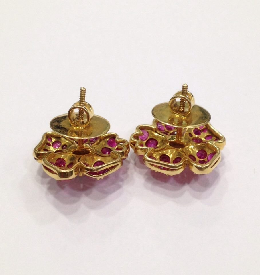 NATURAL BURMA RUBY AND PEARL 18 KT YELLOW GOLD EARRING - 6