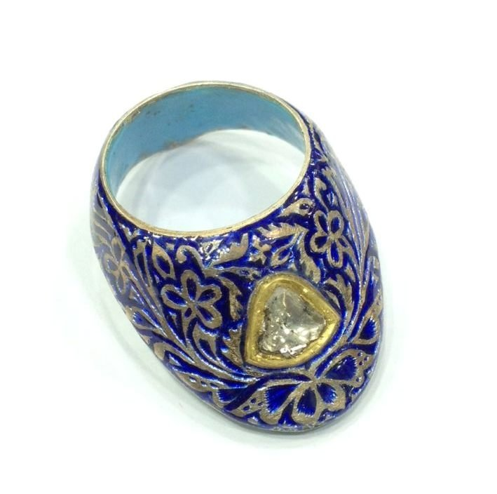 Vintage silver enamel uncut diamond archer thumb ring