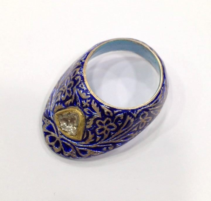 Vintage silver enamel uncut diamond archer thumb ring - 2