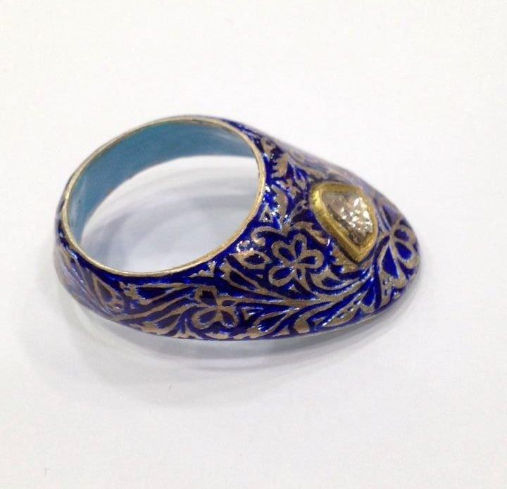 Vintage silver enamel uncut diamond archer thumb ring - 5