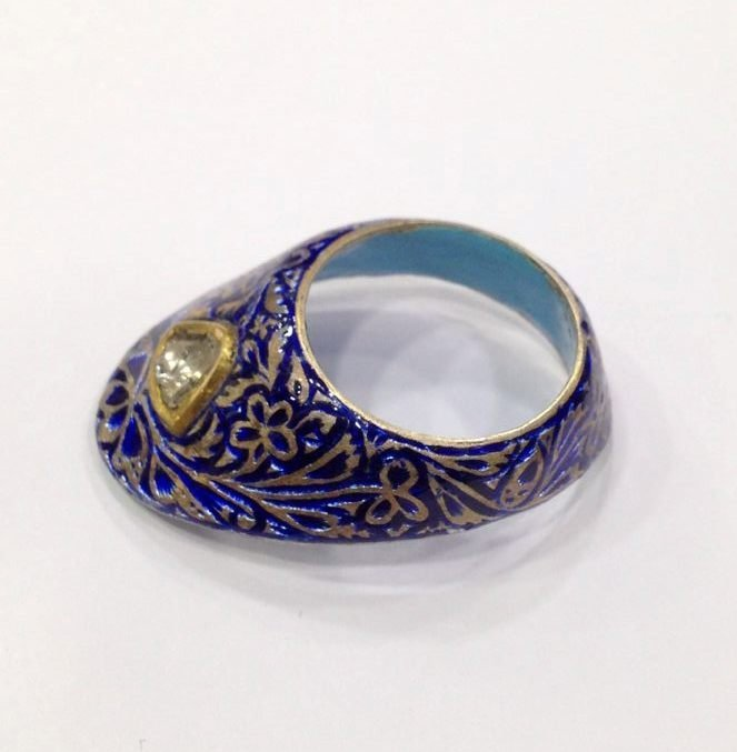 Vintage silver enamel uncut diamond archer thumb ring - 6