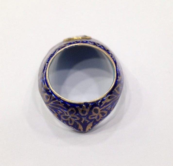 Vintage silver enamel uncut diamond archer thumb ring - 7