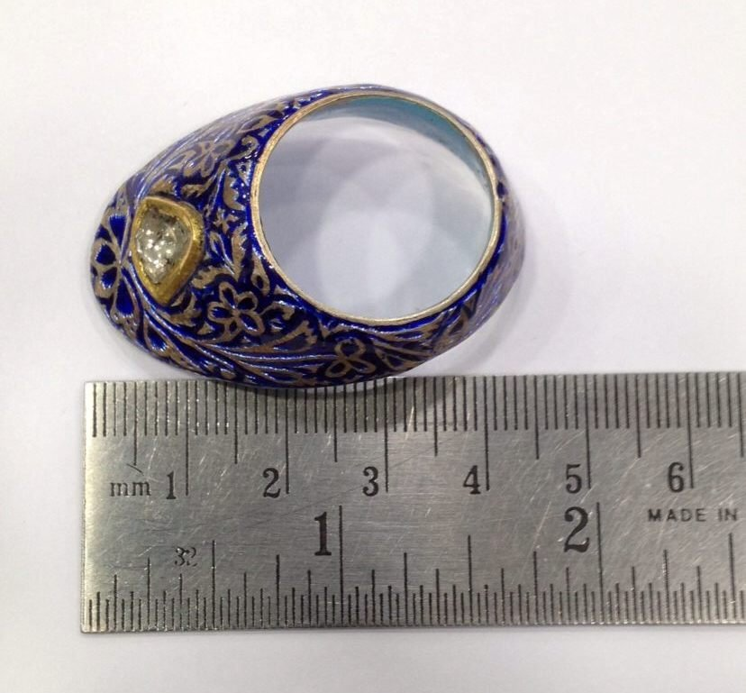 Vintage silver enamel uncut diamond archer thumb ring - 9