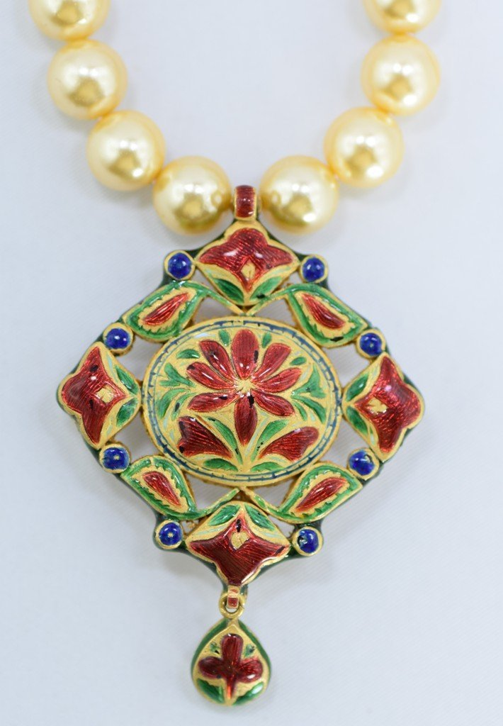 Indian 18 kt Gold Pendant with Diamonds and Rubies - 2