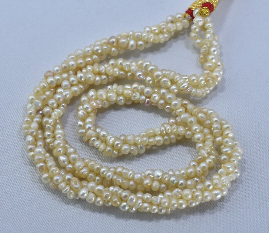 92 CWT NATURAL REAL BASRA PEARL TWISTED NECKLACE