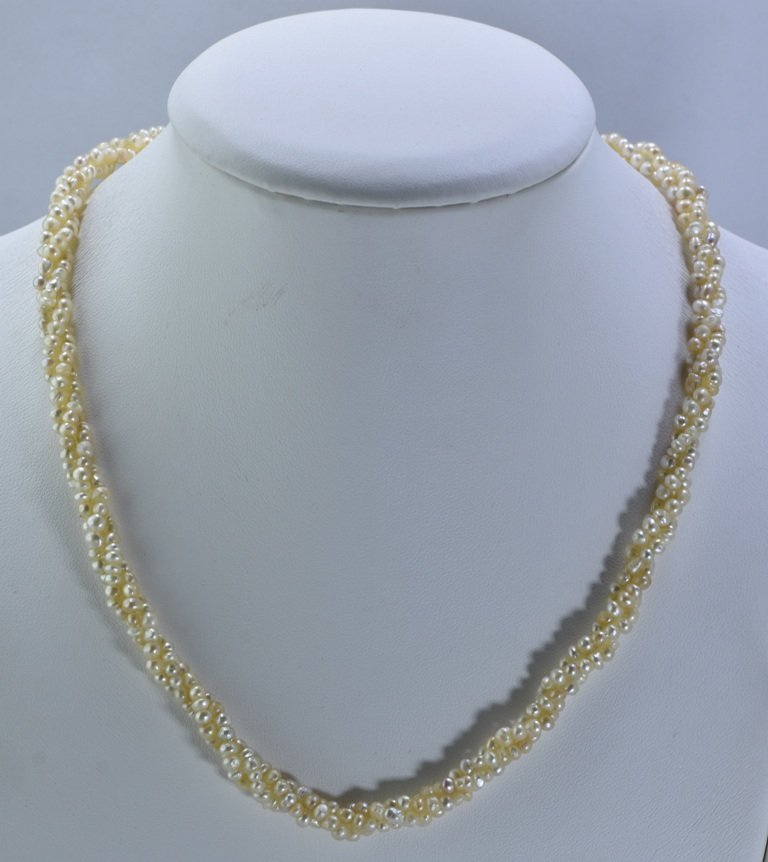92 CWT NATURAL REAL BASRA PEARL TWISTED NECKLACE - 2