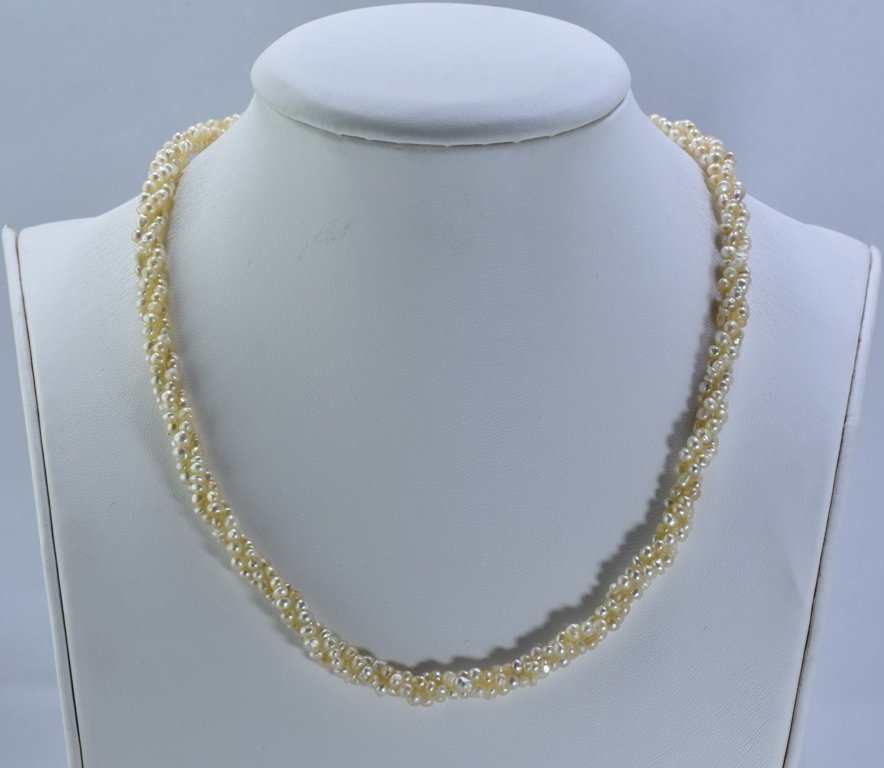 92 CWT NATURAL REAL BASRA PEARL TWISTED NECKLACE - 3