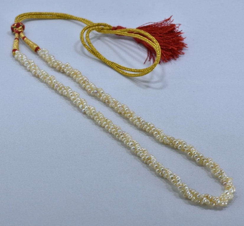 92 CWT NATURAL REAL BASRA PEARL TWISTED NECKLACE - 4