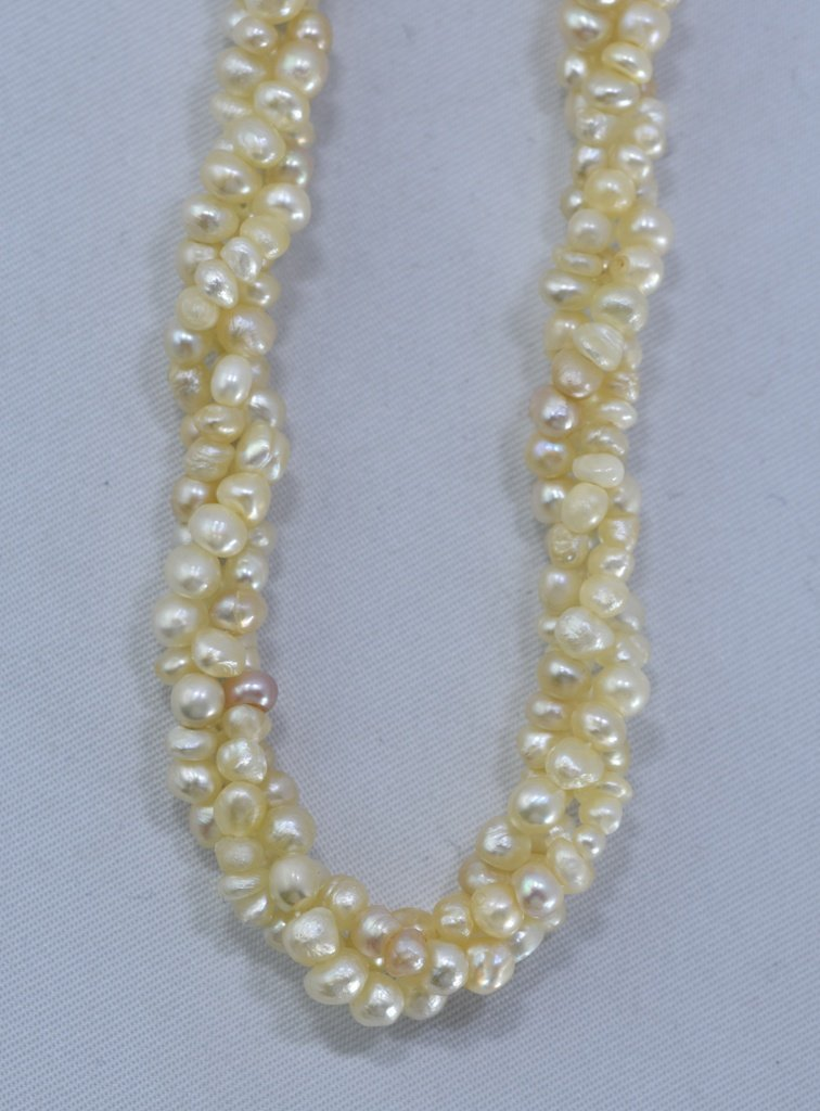 92 CWT NATURAL REAL BASRA PEARL TWISTED NECKLACE - 7