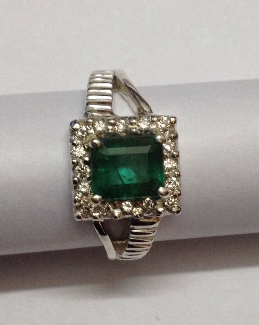 Natural emerald and diamond silver Ring