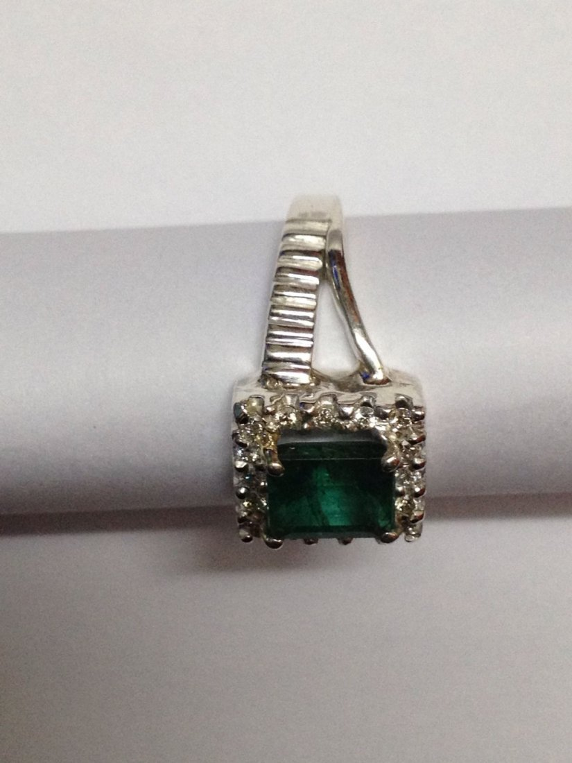 Natural emerald and diamond silver Ring - 2