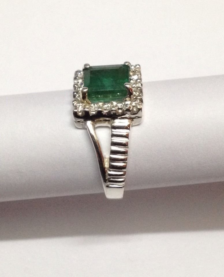Natural emerald and diamond silver Ring - 3
