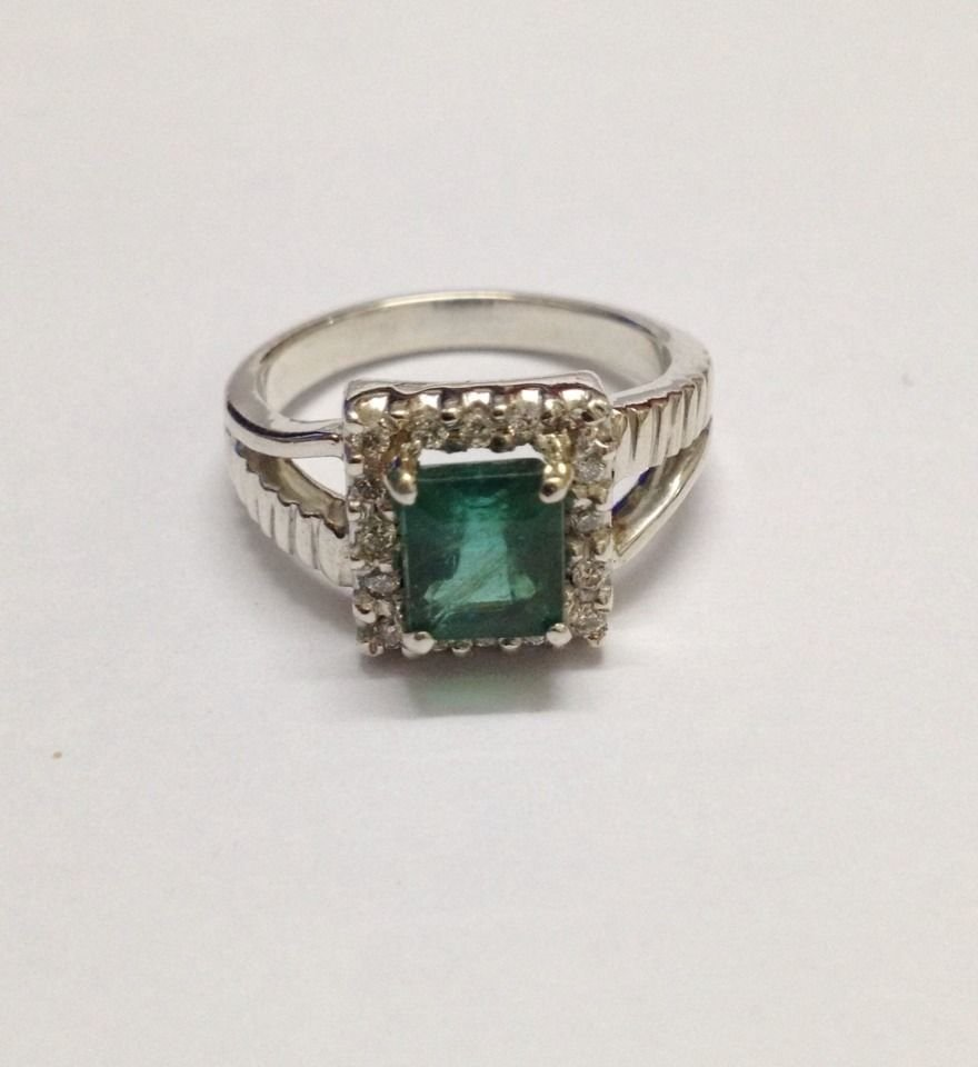 Natural emerald and diamond silver Ring - 4