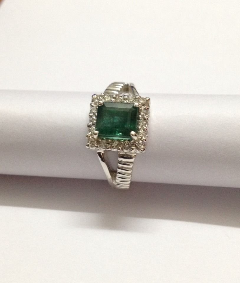 Natural emerald and diamond silver Ring - 5