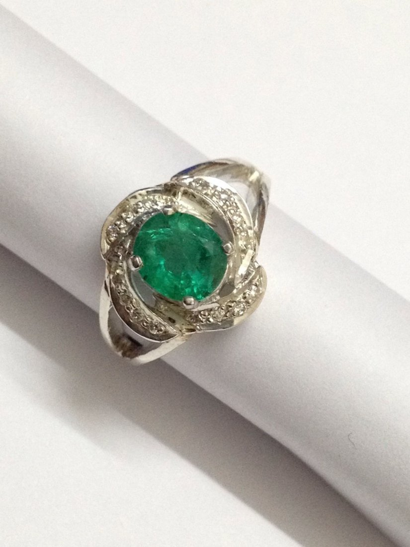 Natural emerald diamond silver Ring