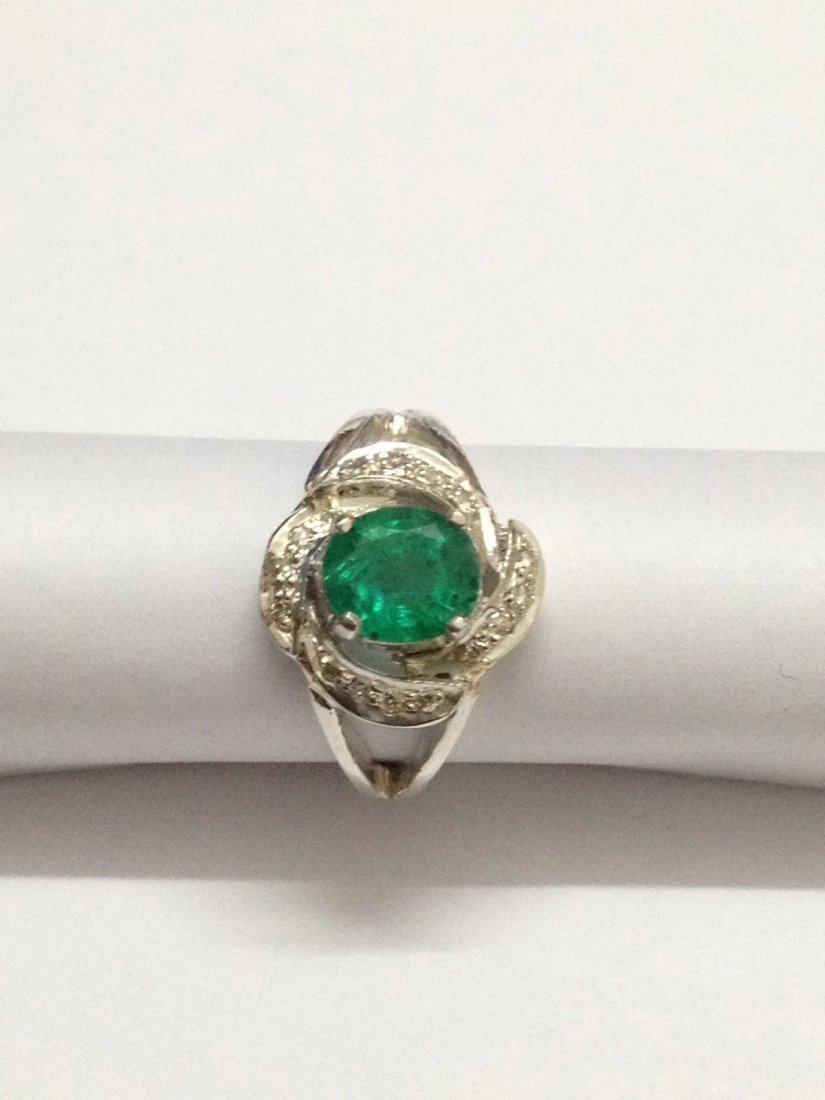 Natural emerald diamond silver Ring - 3