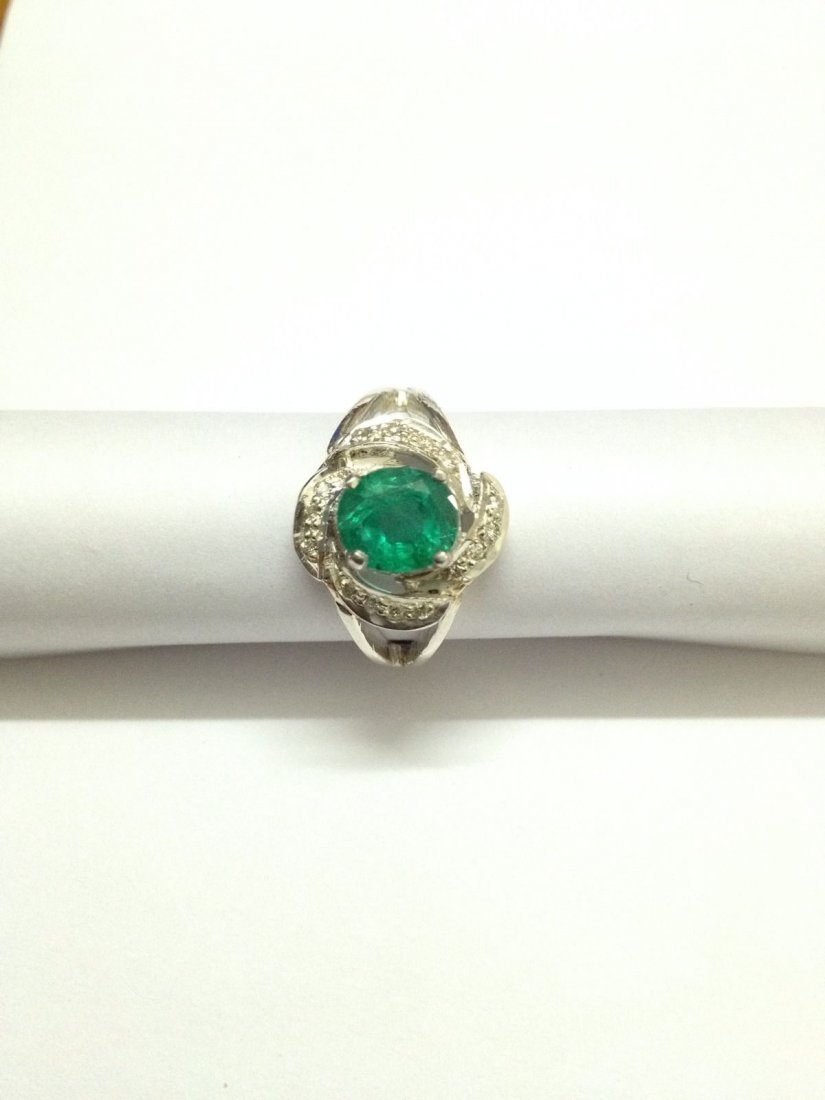 Natural emerald diamond silver Ring - 4