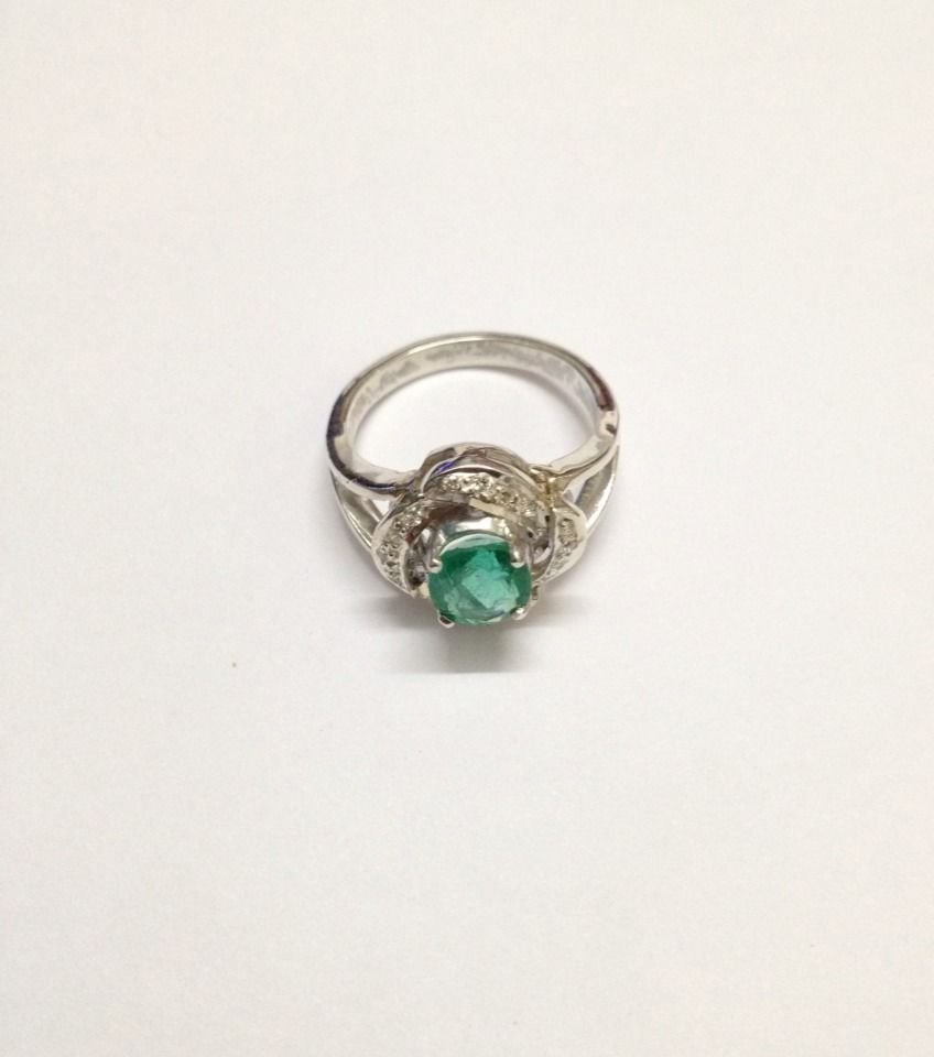 Natural emerald diamond silver Ring - 5