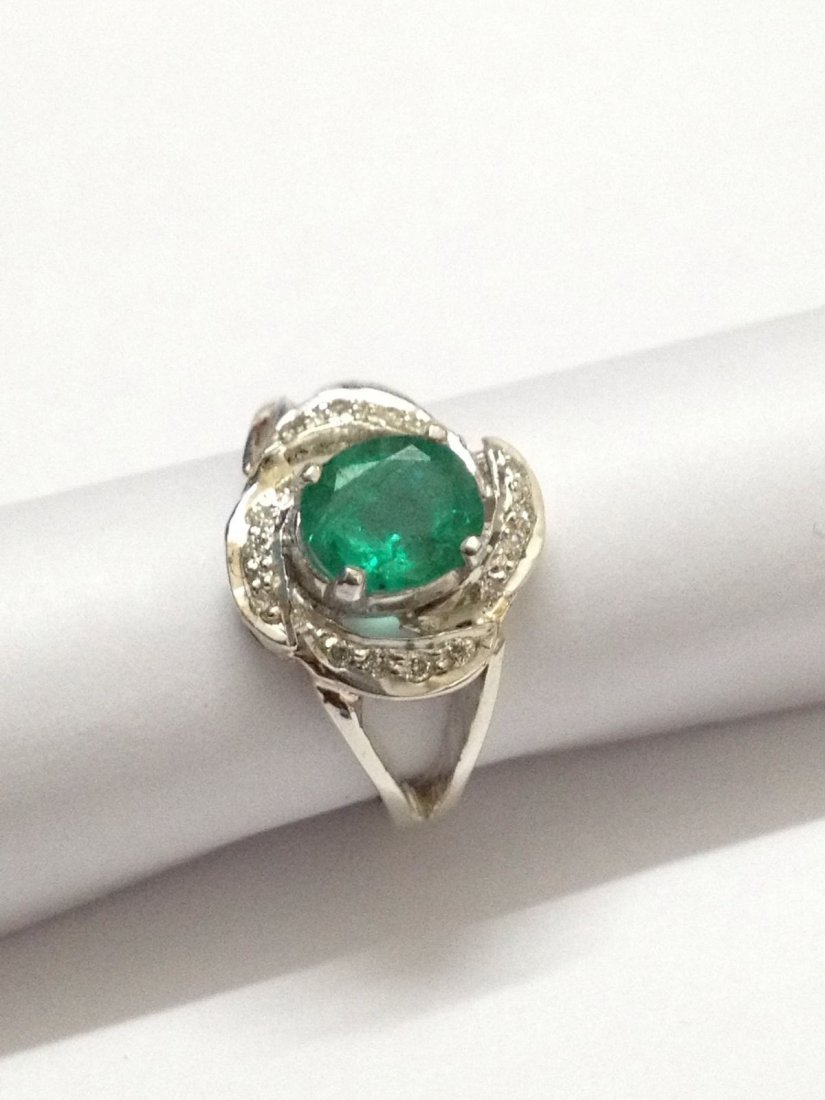 Natural emerald diamond silver Ring - 6