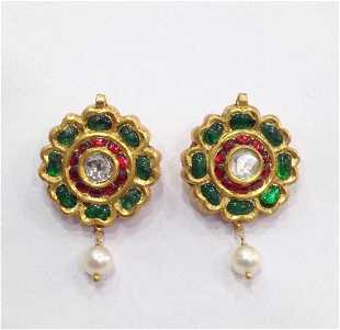 22k Solid Gold Mughal Style Emerald Diamond Earrings