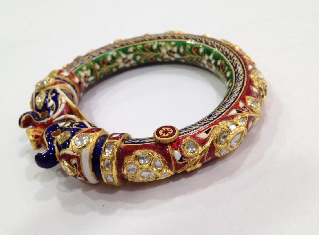 22K Solid Gold Mughal Style Beautiful Diamond Bracelet - 6