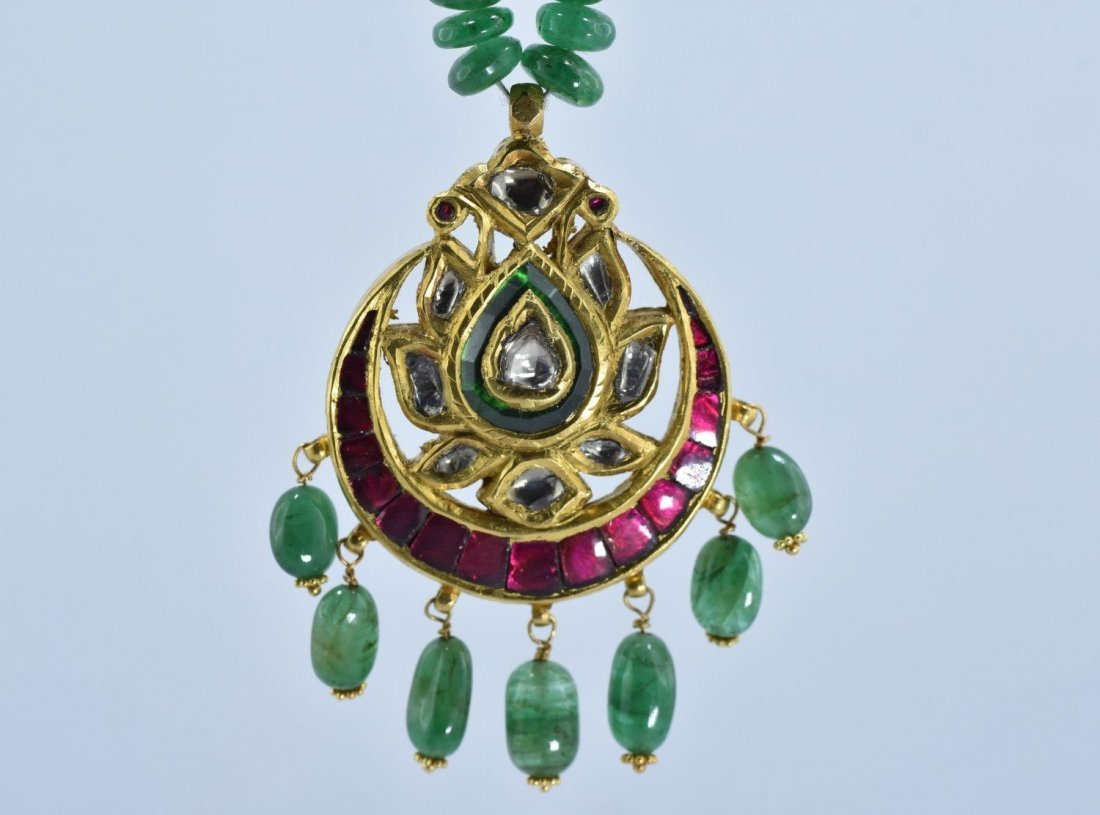 MUGHAL 22 KT GOLD PENDENT W/RUBY,EMERALD & UNCUT